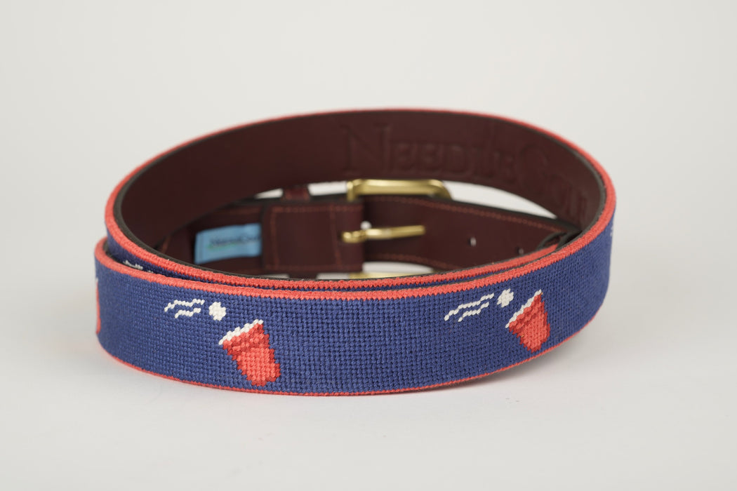Beer Pong Navy Needlepoint Belt