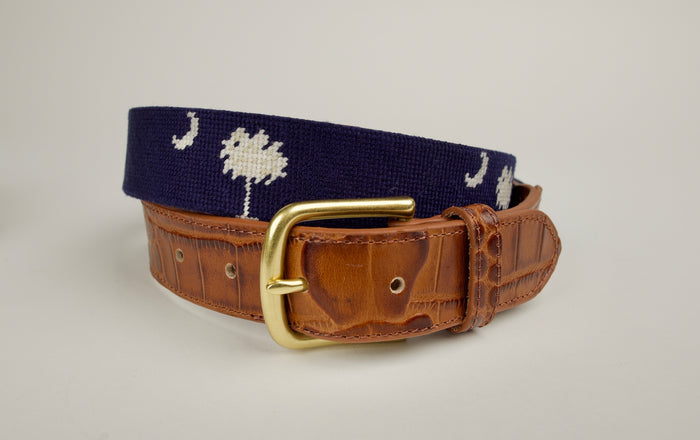Needlepoint Alligator Embossed Belts