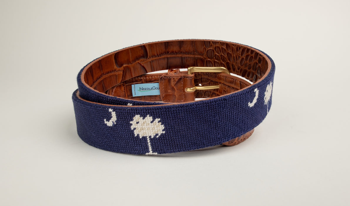 South Carolina Needlepoint Alligator Embossed Belt