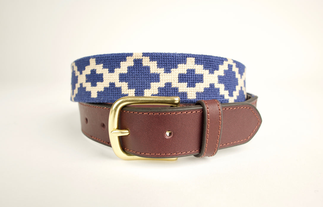 Sierra Midnight Blue Needlepoint Belt