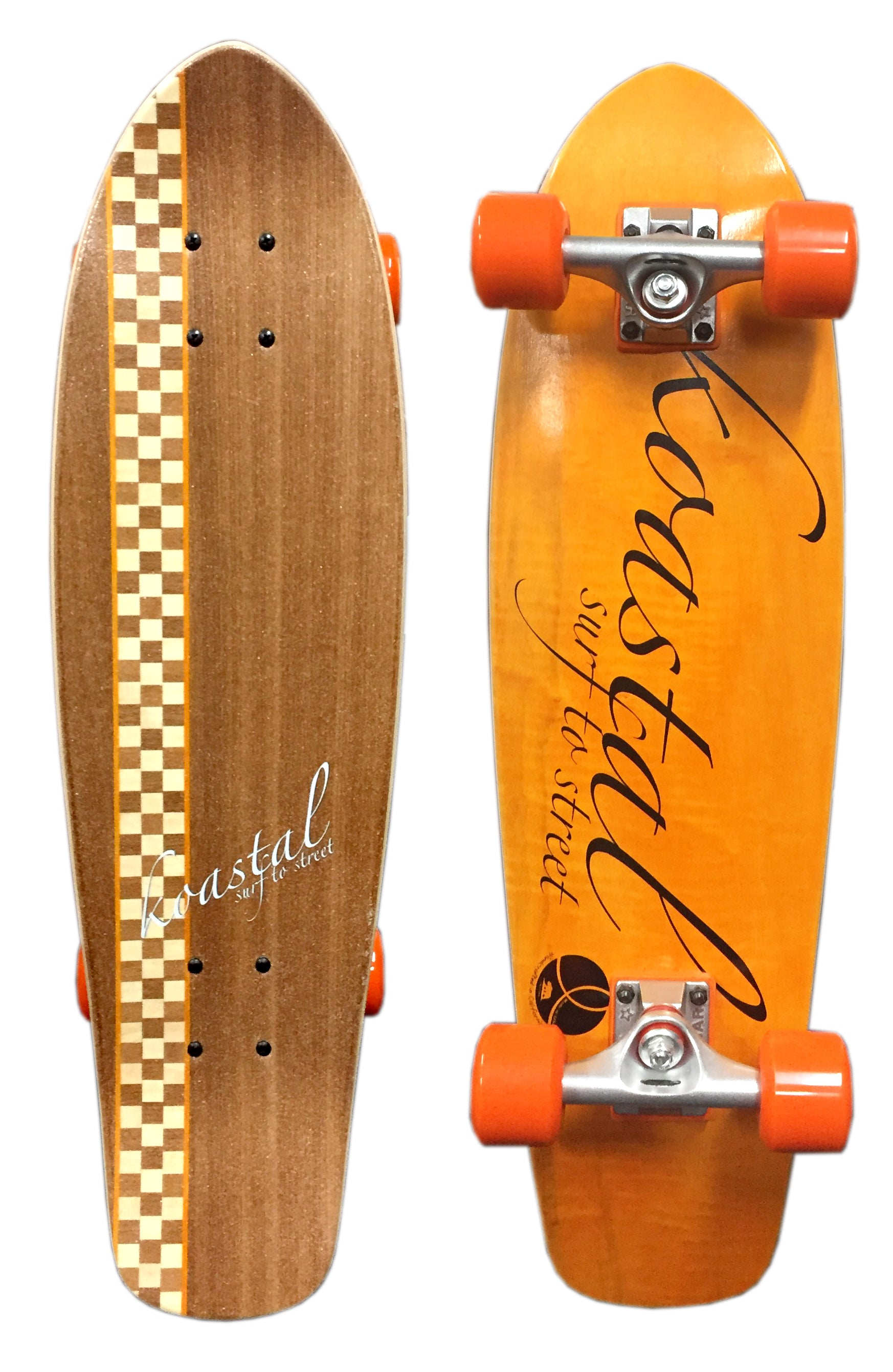 "Koastal Checkered Stripe 29"" Mini Longboard Skateboard (DARK) DECK ONLY"