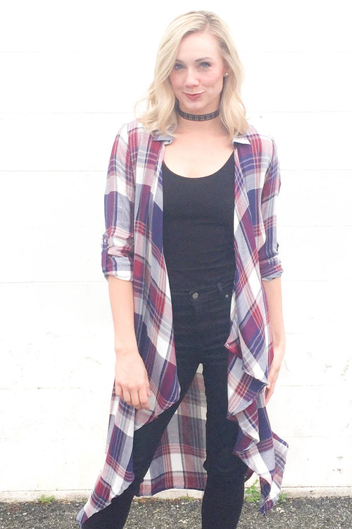 Plaid Duster with Crochet Back