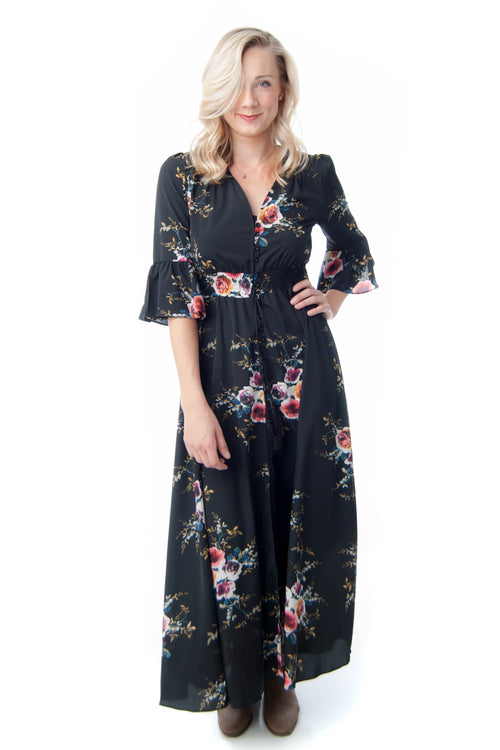 Boho Floral Maxi with 3/4 Length Sleeves