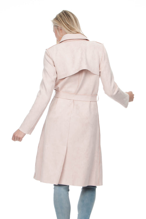 Blush Vegan Suede Trench Coat [Product_type], [Product vendor]- Oliver's Attic