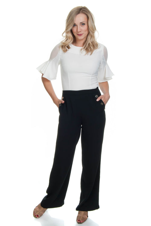 Molly Bracken High Waisted Black Wide-Leg pant