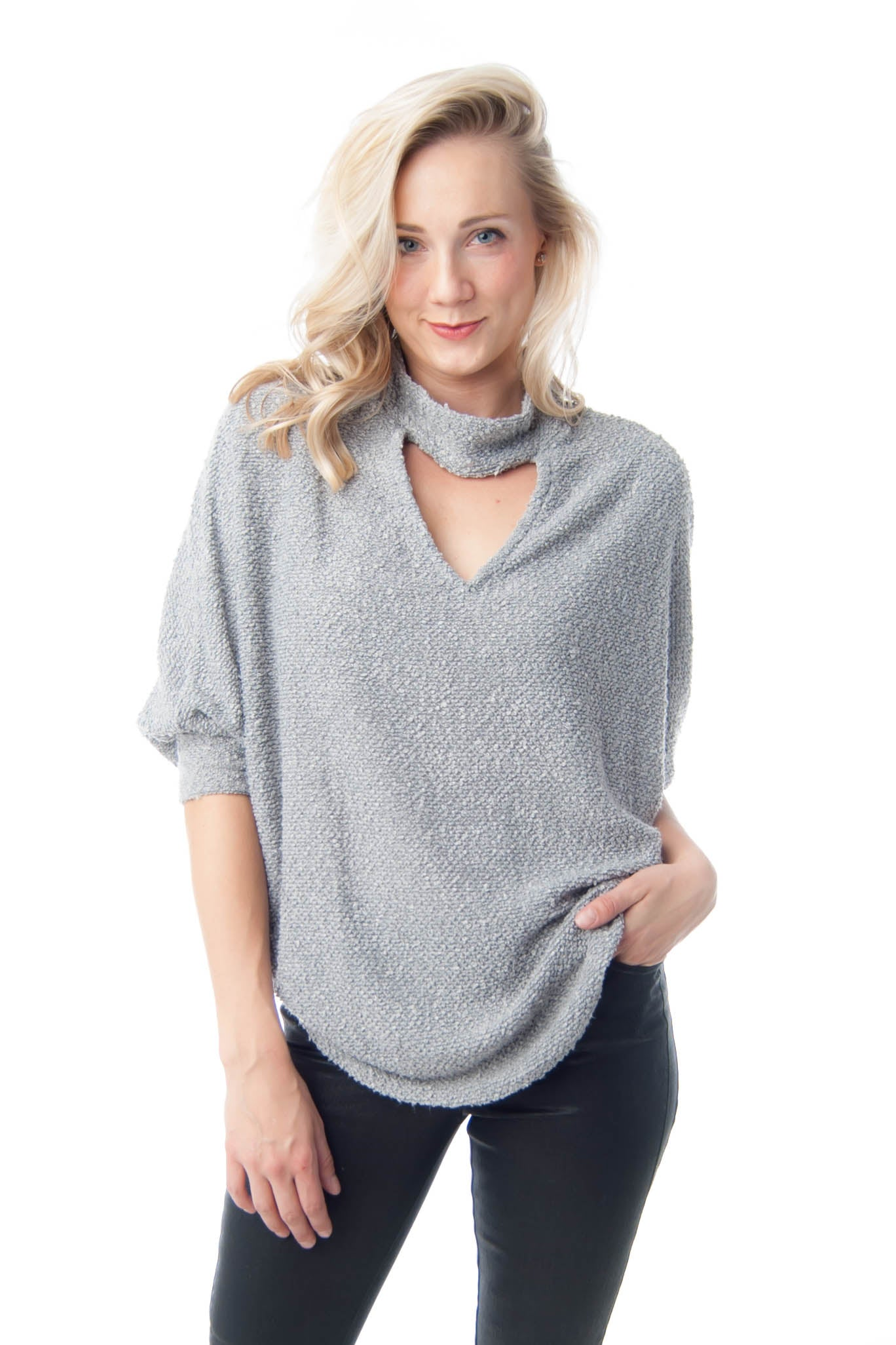 Grey Dolman 3/4 Sleeve Sweater with Choker Neck