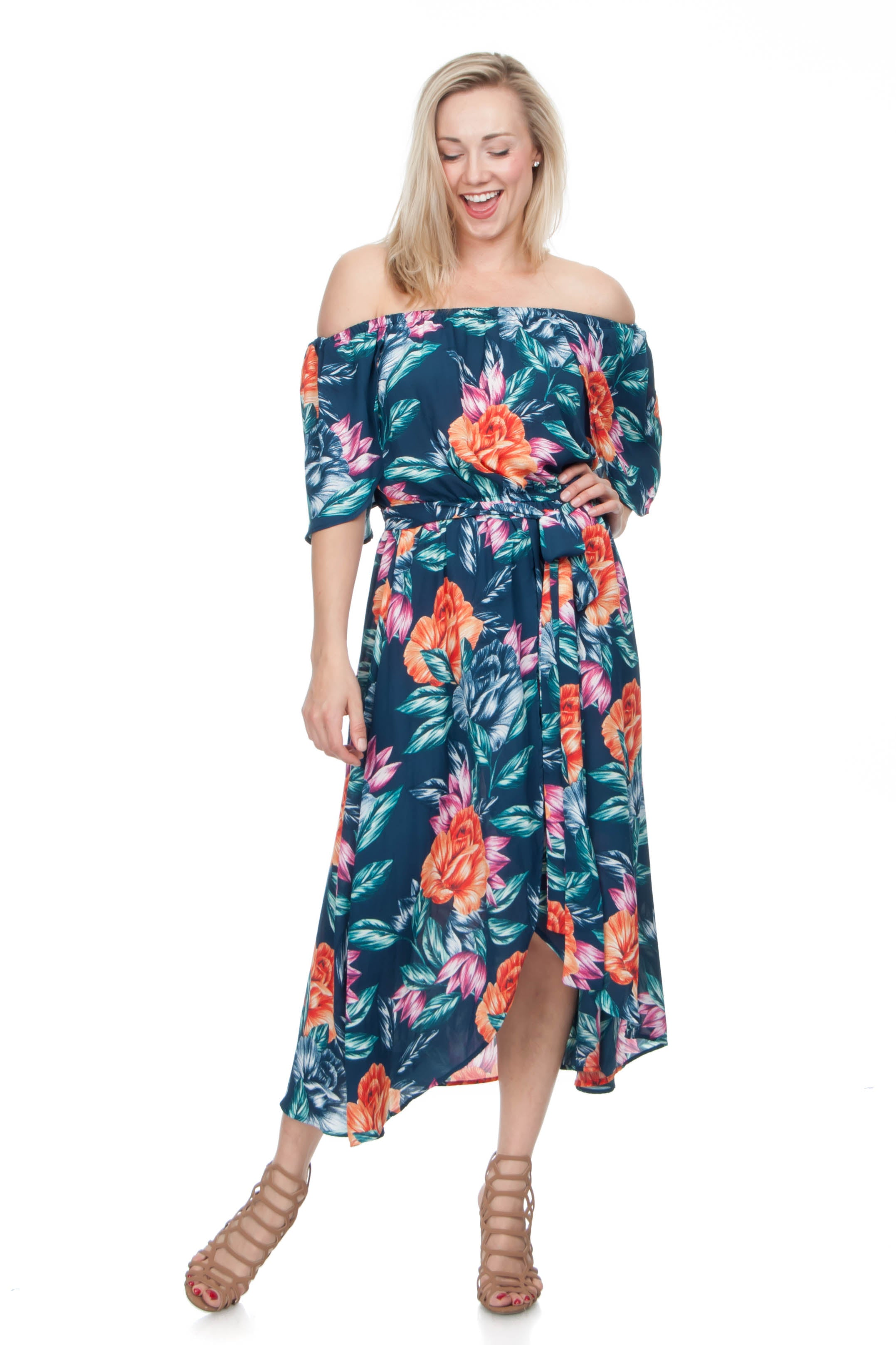 Off-The-Shoulder Tropical Dress [Product_type], [Product vendor]- Oliver's Attic