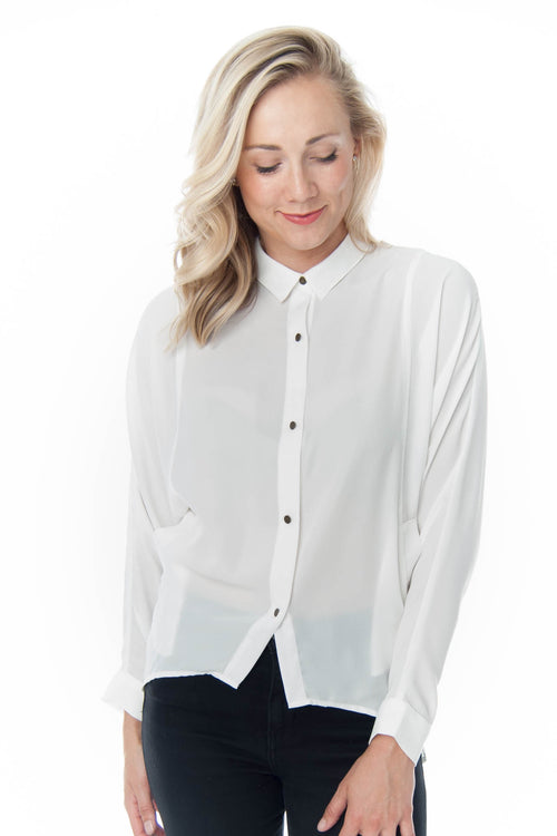 White Button Up Shirt With Back Detail