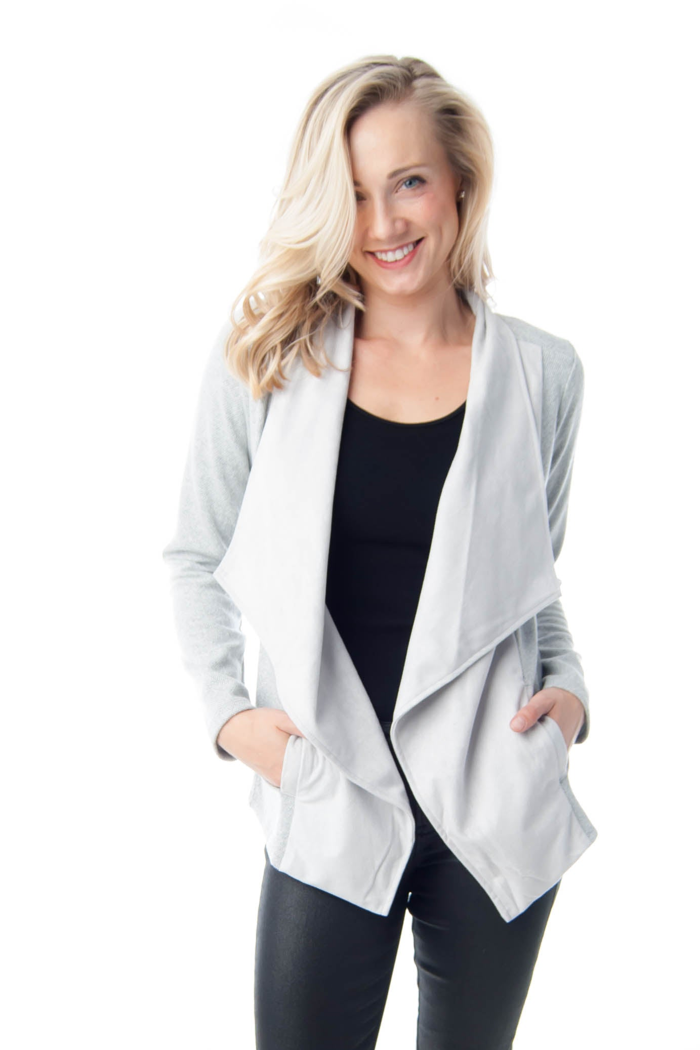 Light Grey Cardigan Sweater with Pockets and Faux Suede Contrast