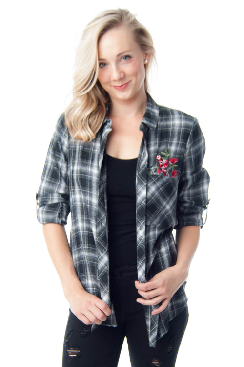 Plaid button-up with floral embroidery