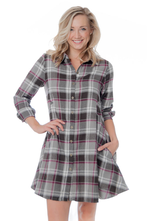Plaid Button-up Tunic Dress with Pockets