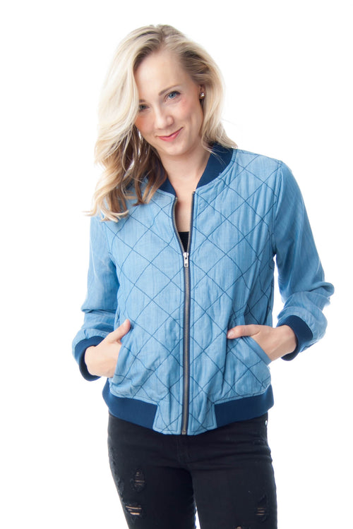 Chambray Quilted Bomber Jacket