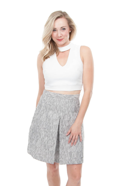 Silver grey textured mini skirt with front pleat