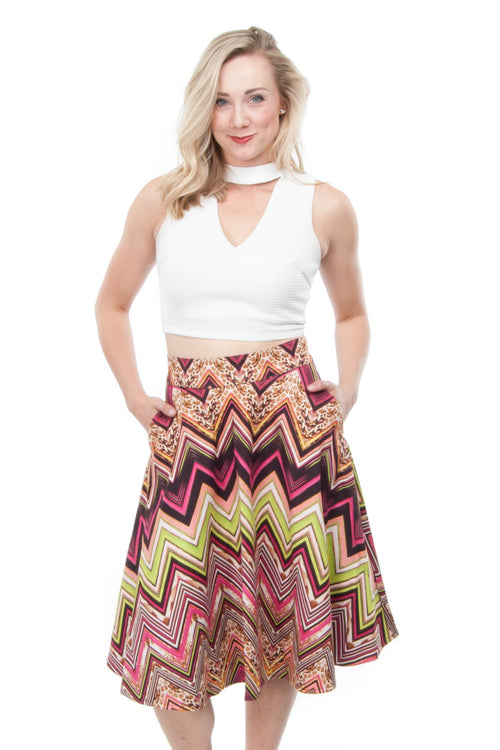 Suede-like chevron midi skirt with pockets