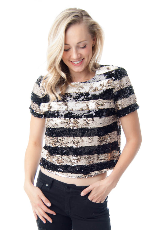 Two-way sequin striped crop