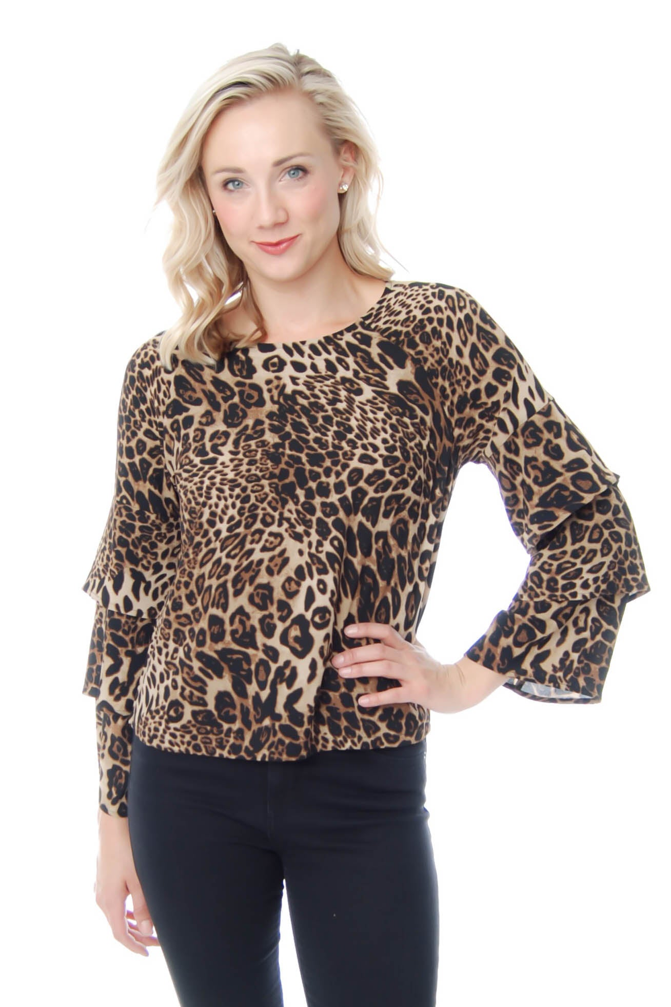 Leopard Top with Ruffled SLeeves