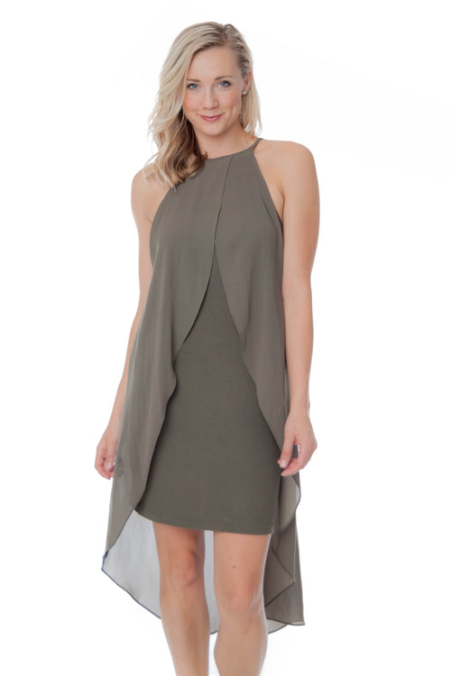 Matty M Layered Hi-Lo Dress