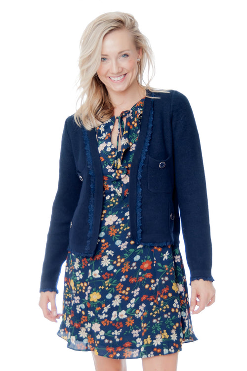 Navy Cardigan with Lace details