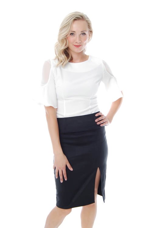 Suede-like Pencil Skirt with Side Slit