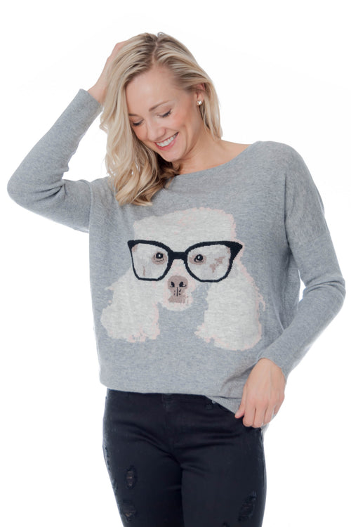 Oversized Gray sweater with Poodle Print