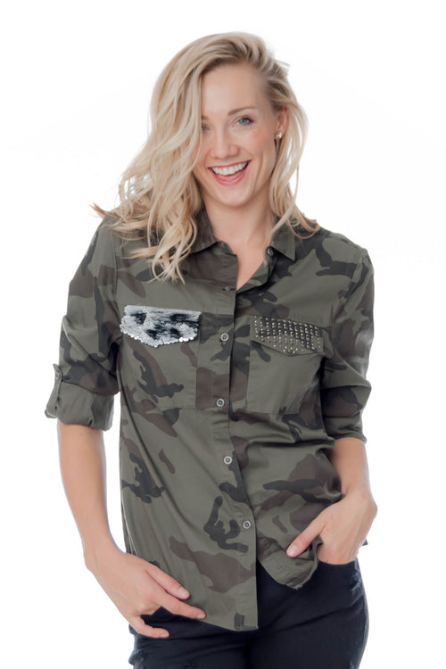Camo Button-Up with Sequin Pocket Detail
