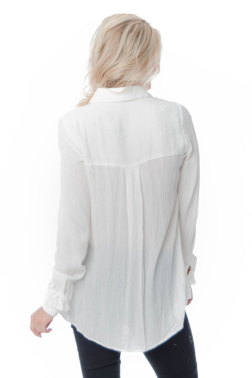 Blushnoir White Collared Button up with Ruffles