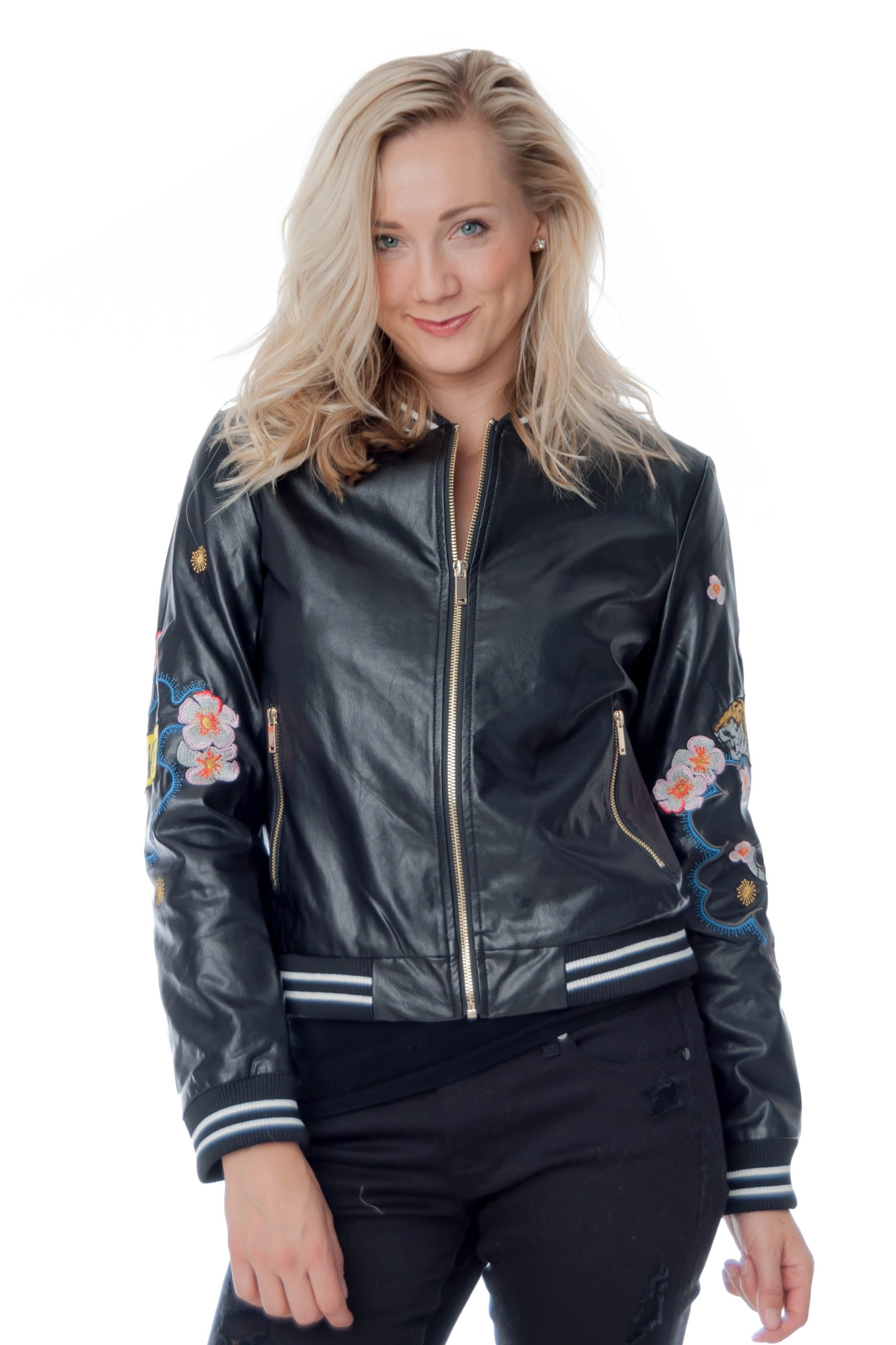 Pleather Bomber Jacket with Embroidered Patches