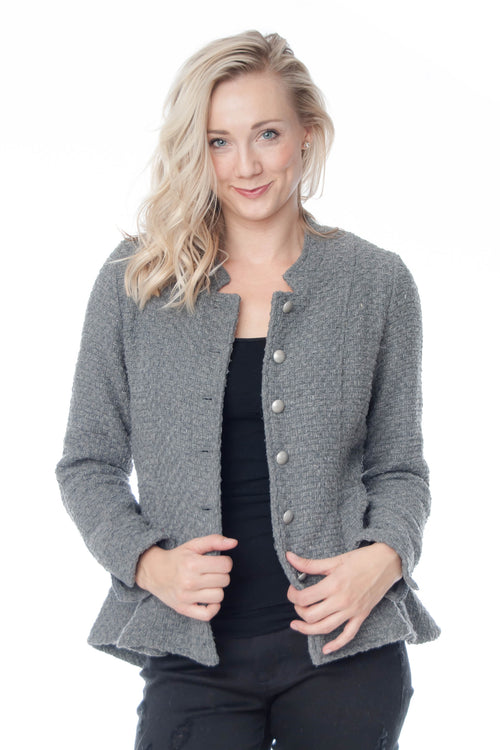Mystree Gray Jacquard Jacket with peplum bottom