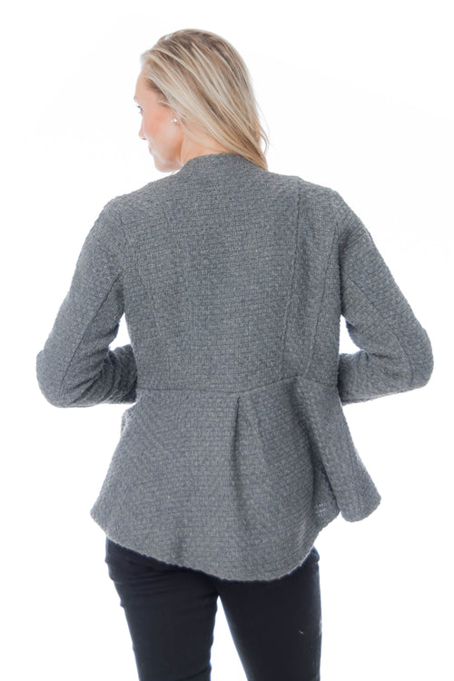 Gray Jacquard Jacket with peplum bottom