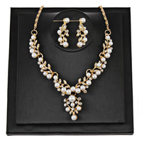 Pearl Rhinestone Set of Necklace & Earrings