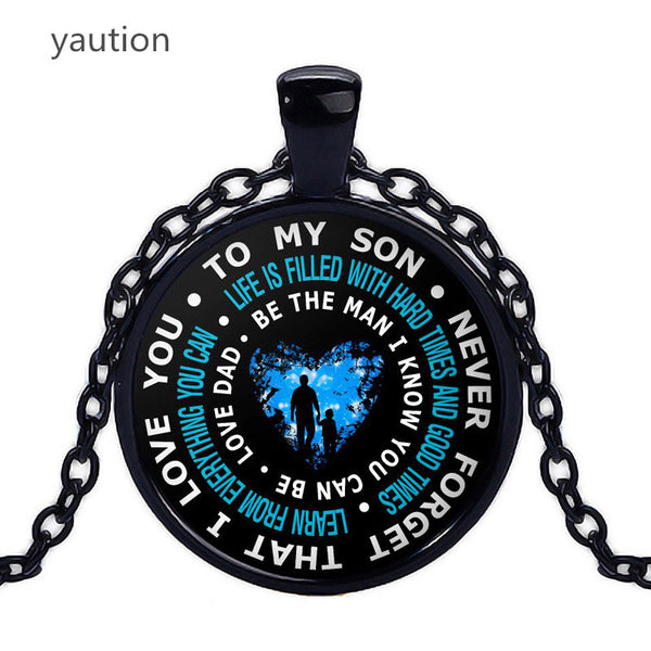 Father And Son Necklace. To My Son Never Forget That I Love You .