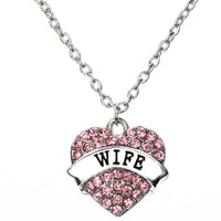 Love Heart WIFE Pendant Necklace Crystal