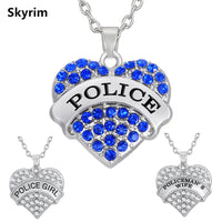 Pink/Blue Crystal Heart Necklace&Pendants Rhodium Plated Police Jewelry Family Gifts