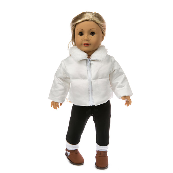 Doll Clothes accessories White down jacket Fit 18 Inch American Girl Doll Clothes