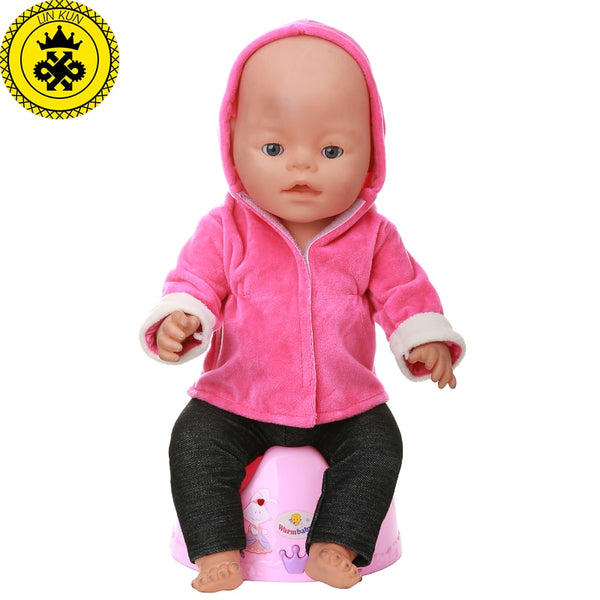 "Baby Doll Clothes Red Hooded Jacket + Black Trousers Suit fit 43 cm / 17"" Doll"