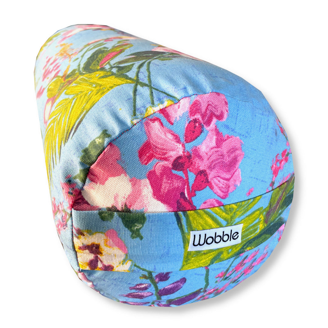 Blue Sky Tropical Floral Yoga Bolster Cushion