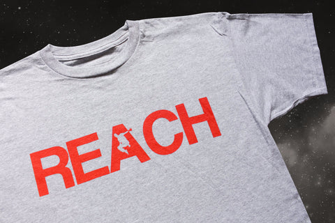 REACH/ESCAPE Athletic Grey t-shirt with infra red print front. parkour, freerunning, streetwear