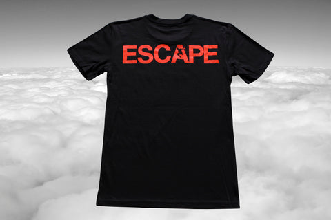 REACH/ESCAPE Black t-shirt with infra red print back. parkour, freerunning, streetwear