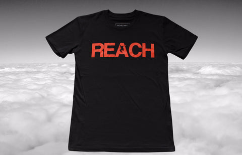 REACH/ESCAPE Black t-shirt with infra red print front. parkour, freerunning, streetwear
