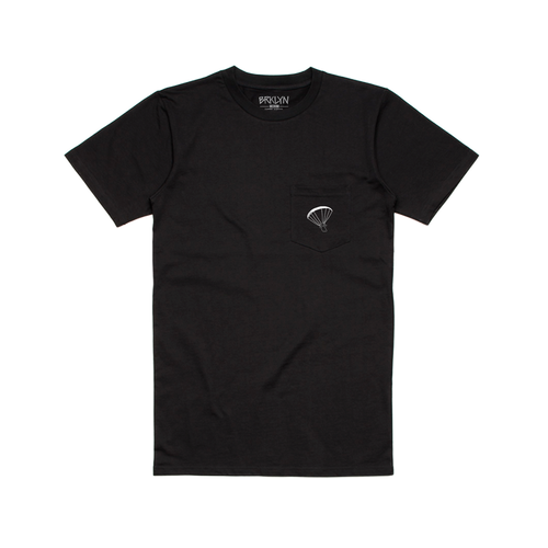 ALL AROUND THE WORLD POCKET T-SHIRT - BLACK