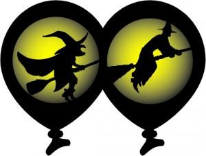 Witch double sided black & yellow latex balloon