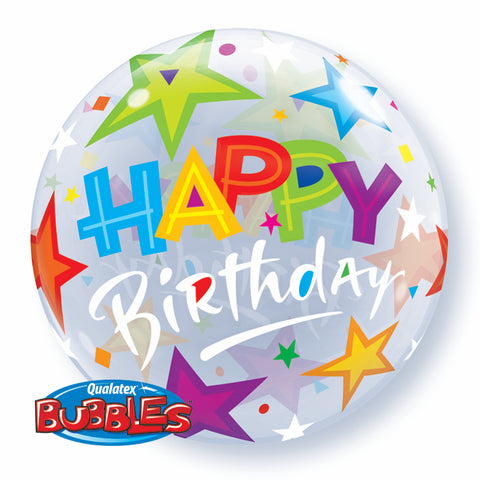 Happy Birthday Brilliant Stars Bubble Balloon