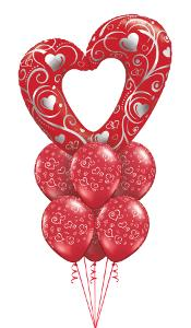 Red Filigree Heart with heart latex Balloon Gift