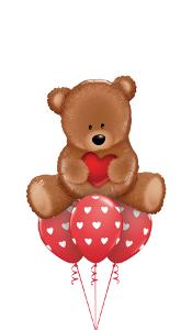 Love Teddy with Hearts Balloon Gift