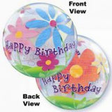 Happy Birthday Funky Flowers Bubble