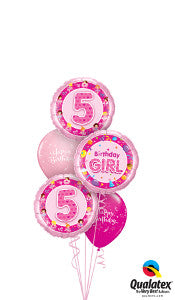 Age 5 Birthday Girl Balloon Gift