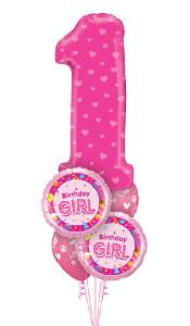 Pink 1 Birthday Girl Balloon Gift