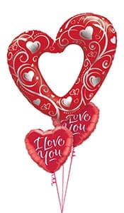 Red Link  Heart Filigree Balloon Gift