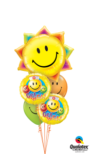 Get Well Smiley Sun Balloon Bouquet