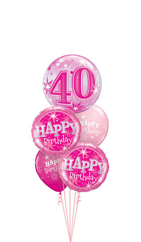 Pink 40 Sparkle Bubble Balloon Gift